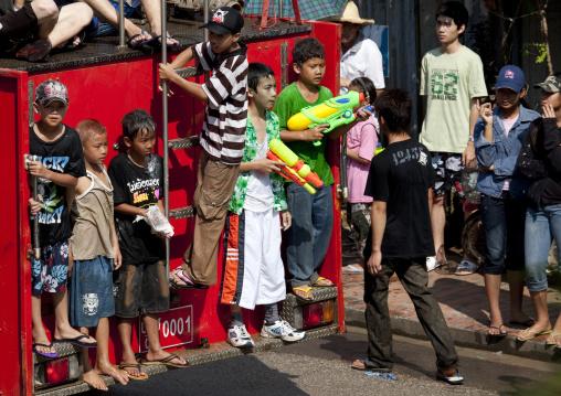 Kids during pii mai lao new year celebration, Luang prabang, Laos