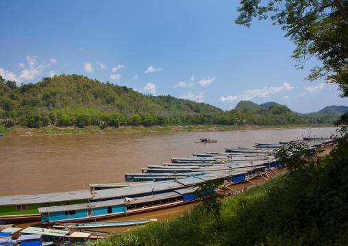 Boats on mekong river, Luang prabang, Laos