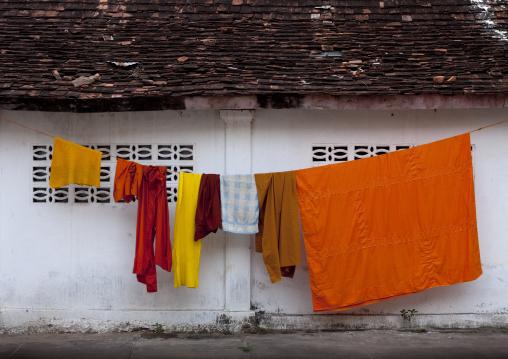 Monks clothes in temple vat xieng thong, Luang prabang, Laos