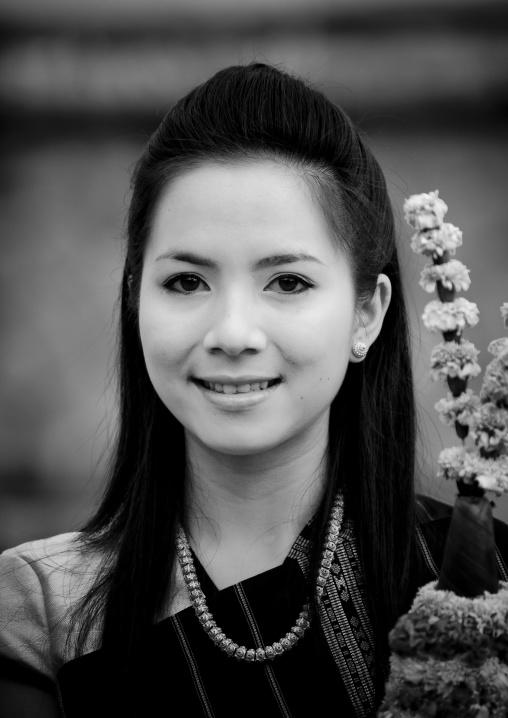 Woman during pii mai lao new year celebration, Luang prabang, Laos
