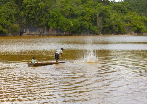 Fishermen on a boat, Phonsavan, Laos