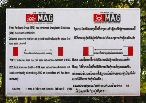 Mines warning at plain of jars, Phonsavan, Laos