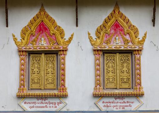 Windows of a temple, Phonsavan, Laos