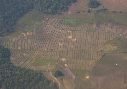 Aerial view of bombs craters, Phonsavan, Laos