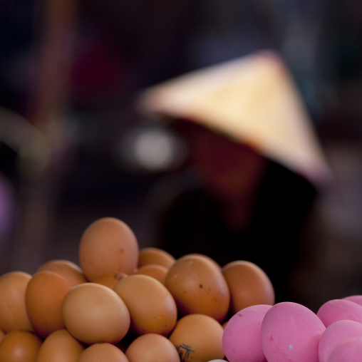 Eggs seller in a market, Vientiane, Laos