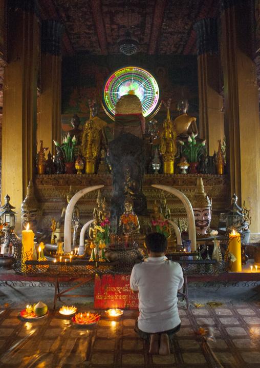 Baci ceremony in vat si muang, Vientiane, Laos