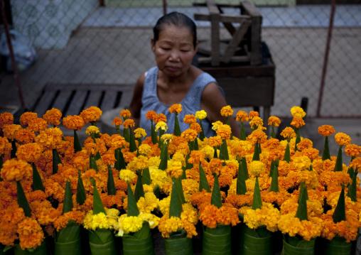 Flowers for temple, Vientiane, Laos