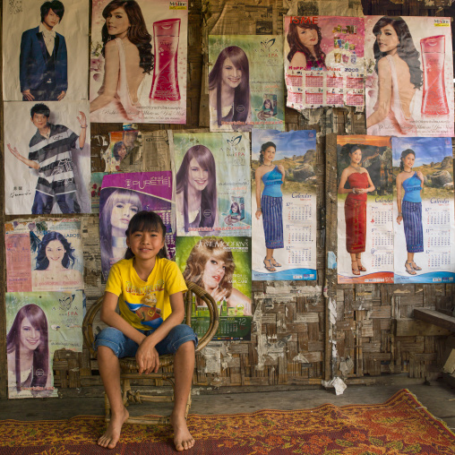 Young girl in her house, Muang sing, Laos