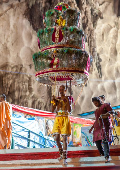 Devotee Kavadi Bearer At Thaipusam Hindu Religious Festival In Batu Caves, Southeast Asia, Kuala Lumpur, Malaysia