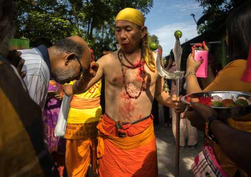 Hindu Man Blessing A Devotee In Annual Thaipusam Religious Festival In Batu Caves Blessing A Pilgrim, Southeast Asia, Kuala Lumpur, Malaysia