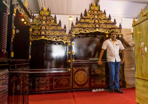 Furniture Shop Seller During Annual Thaipusam Religious Festival In Batu Caves, Southeast Asia, Kuala Lumpur, Malaysia
