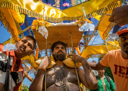 Devotee Kavadi Bearer With Tongue Piercing At Thaipusam Hindu Religious Festival In Batu Caves, Southeast Asia, Kuala Lumpur, Malaysia