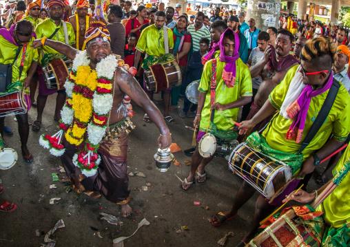 Hindu Devotee In Trance During The Annual Thaipusam Religious Festival In Batu Caves, Southeast Asia, Kuala Lumpur, Malaysia