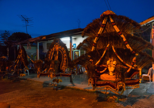 Kavadis Waiting For Devotees During The Thaipusam Hindu Festival At Batu Caves, Southeast Asia, Kuala Lumpur, Malaysia