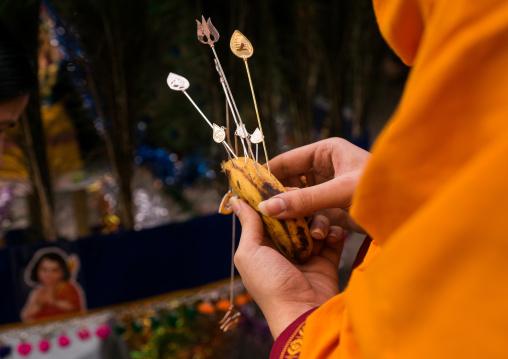 Hindu Devotee In Thaipusam Religious Festival In Batu Caves Holding Banana To Lubricate Skewers, Southeast Asia, Kuala Lumpur, Malaysia
