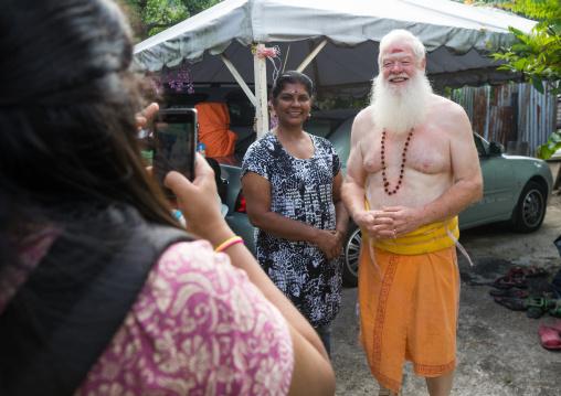 Carl, An Australian Hindu Devotee Pausing For A Photo Souvenir In Annual Thaipusam Religious Festival In Batu Caves, Southeast Asia, Kuala Lumpur, Malaysia