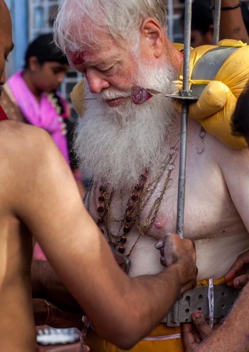 Carl, An Australian Hindu Devotee Preparing His Kavadi In Annual Thaipusam Religious Festival In Batu Caves, Southeast Asia, Kuala Lumpur, Malaysia