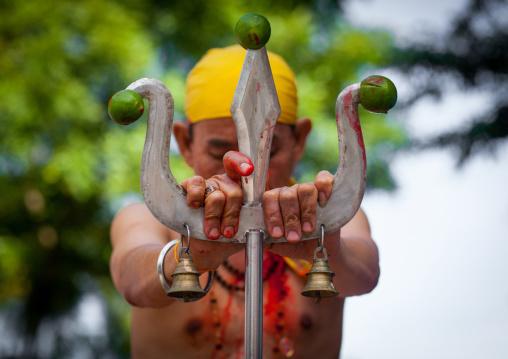 Hindu Devotee With Vishnu Trident In Annual Thaipusam Religious Festival In Batu Caves, Southeast Asia, Kuala Lumpur, Malaysia