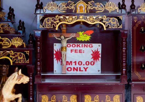 Jesus Crucifix For Sale During Annual Thaipusam Religious Festival In Batu Caves, Southeast Asia, Kuala Lumpur, Malaysia