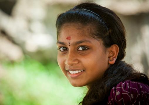Portrait Of A Girl In Batu Caves In Annual Thaipusam Religious Festival, Southeast Asia, Kuala Lumpur, Malaysia