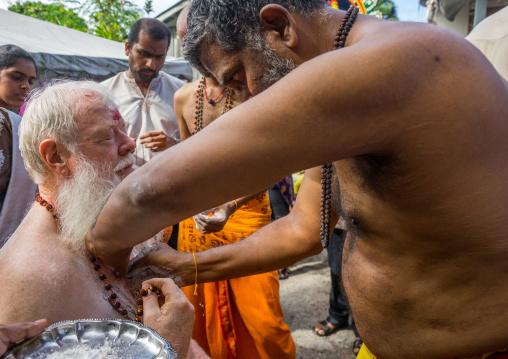 Carl, An Australian Hindu Devotee In Annual Thaipusam Religious Festival In Batu Caves Having Hooks Hung On His Chest, Southeast Asia, Kuala Lumpur, Malaysia