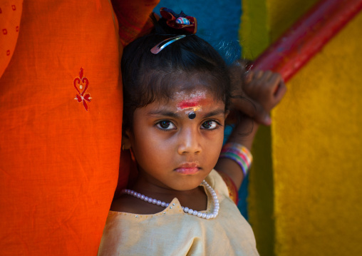 Portrait Of A Girl With Makeup On The Forehead In Batu Caves In Annual Thaipusam Religious Festival, Southeast Asia, Kuala Lumpur, Malaysia