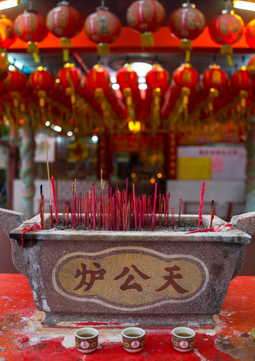 Urn Of Burning Incense Sticks At Chinese Temple, Penang Island, George Town, Malaysia