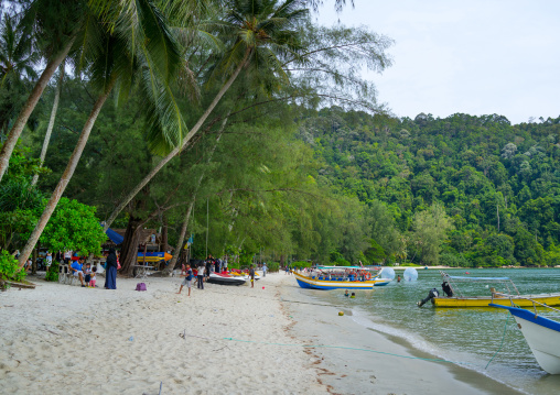 Boats On Monkey Beach In Nan National Park, Penang Island, George Town, Malaysia
