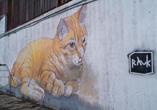 Giant Cat Art Wall Mural By Tang Yeok Khang, Penang Island, George Town, Malaysia