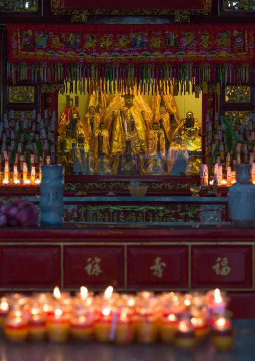 Burning Candles Inside A Chinese Temple, Penang Island, George Town, Malaysia