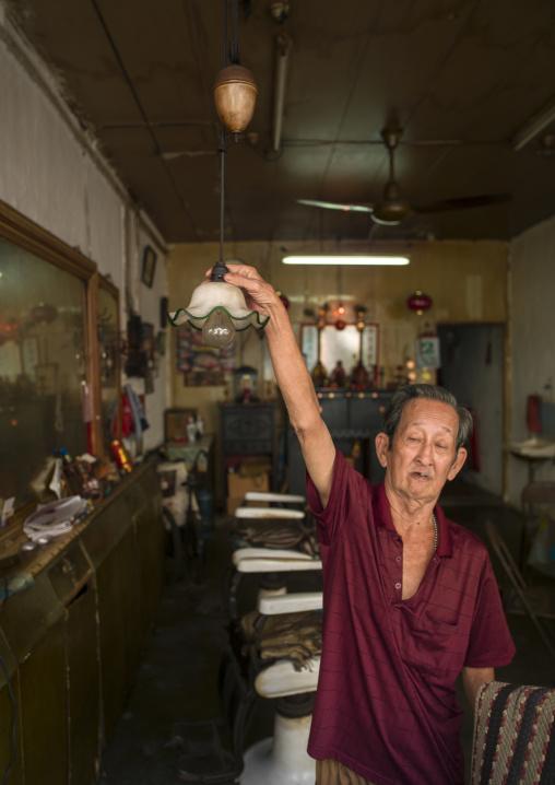 Barber In His Shop, Malacca, Malaysia