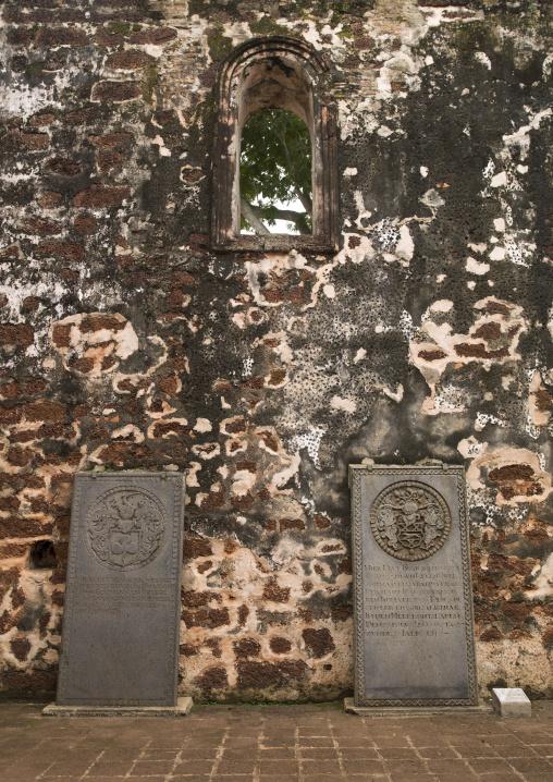 Gravestones In The Ruins Of St Paul Church, Malacca, Malaysia