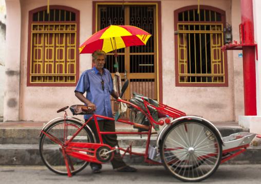Man With His Trishaw, George Town, Penang, Malaysia