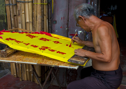 Caligraphy Artist Painting Scroll, George Town, Penang, Malaysia