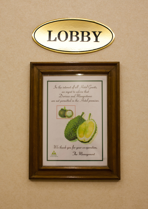 Hotel Sign Banning Durian Fruit, George Town, Penang, Malaysia