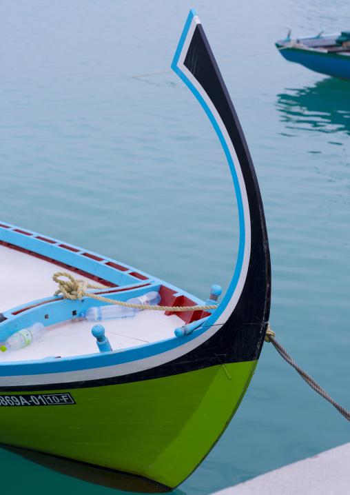 Traditional Dhoni Moored At Port, Eydhafushi Island, Baa Atoll, Maldives