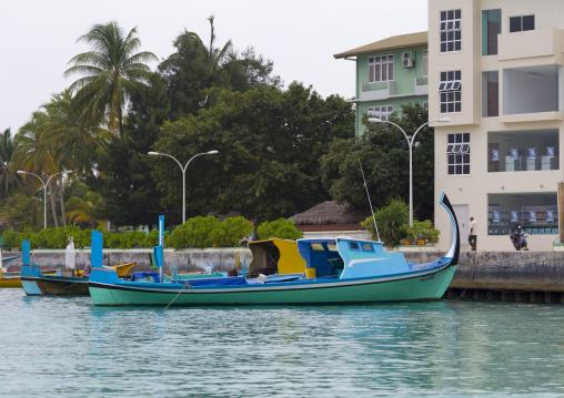 Traditional Dhonis Moored At Port, Eydhafushi Island, Baa Atoll, Maldives