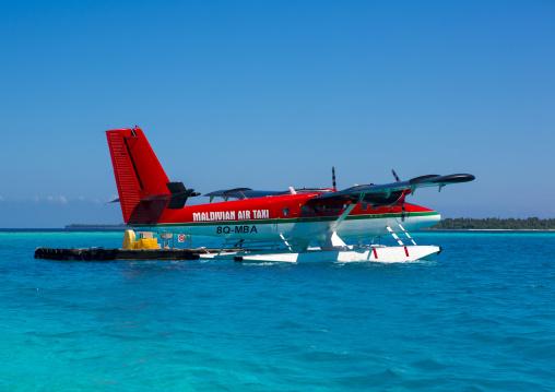 Maldivian Air Taxi Seaplane At Soneva Fushi Hotel Airport, Baa Atoll, Maldives