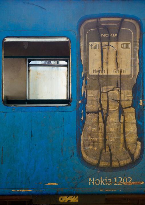 Wagon With A Nokia Advertising In Railway Station, Maputo, Maputo City, Mozambique