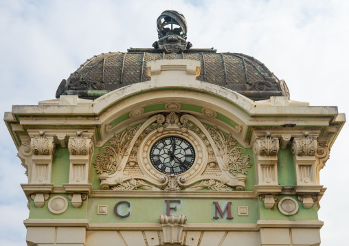 Architectural Detail Of Central Train Station Tower, Maputo, Maputo City, Mozambique