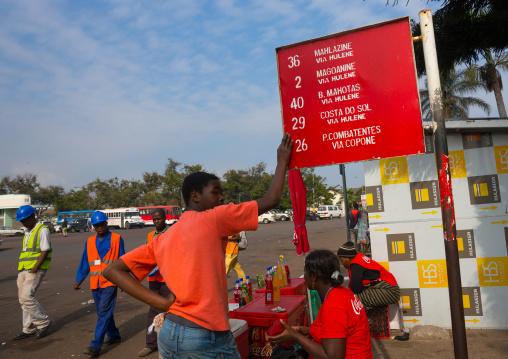 Men At A Bus Stop, Maputo, Maputo City, Mozambique