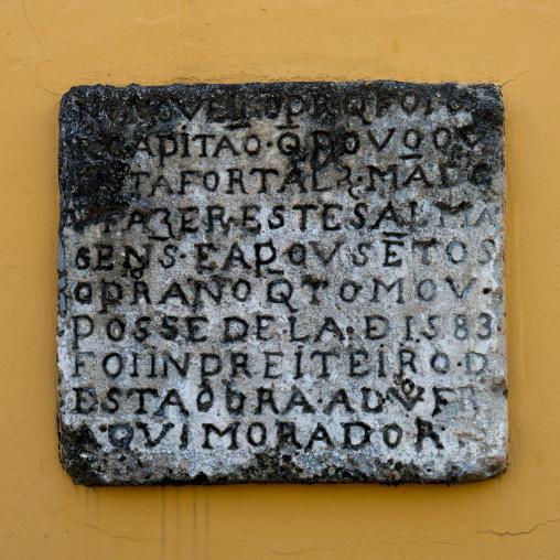 Old Inscription Inside The Old Portuguese Fort, Maputo, Maputo City, Mozambique
