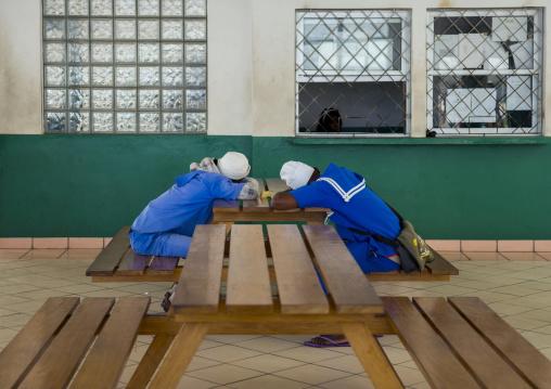 Men Sleeping On A Table, Inhambane, Inhambane Province, Mozambique