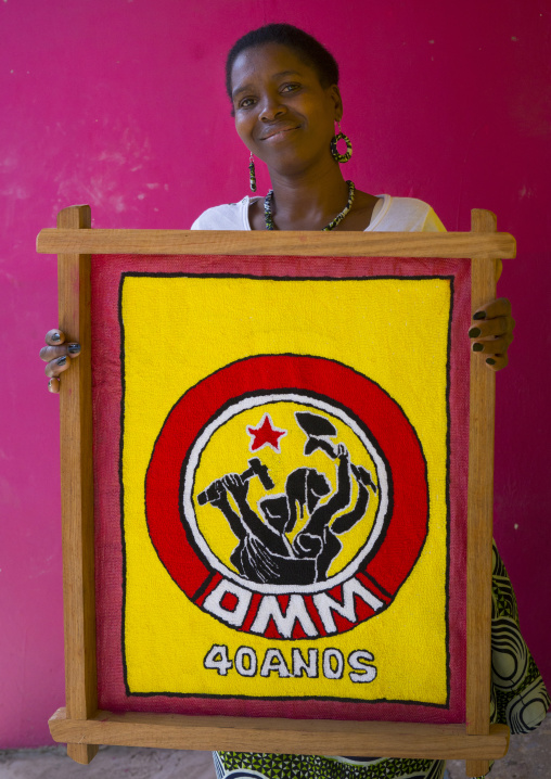 Woman Holding A Propaganda  Painting, Inhambane, Inhambane Province, Mozambique