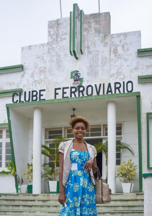 Woman Standing In Front Of The Old Clube Ferroviaro, Inhambane, Inhambane Province, Mozambique
