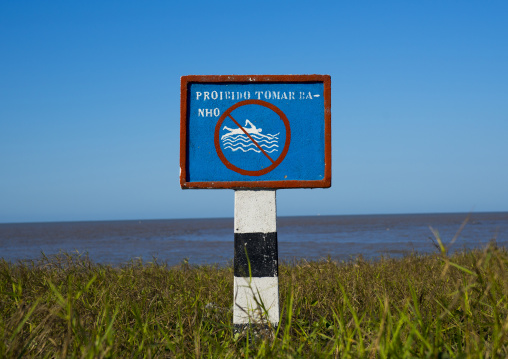 Warning Sign On The Beach, Beira, Sofala Province, Mozambique