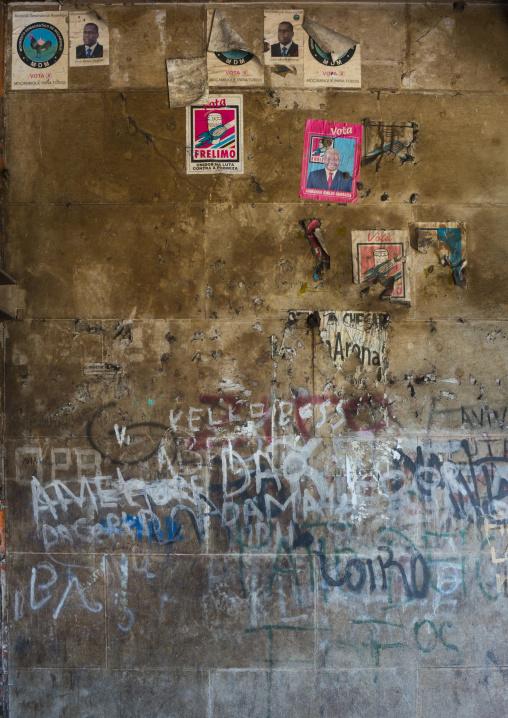 Propaganda Posters Inside The Grande Hotel Slum, Beira, Sofala Province, Mozambique