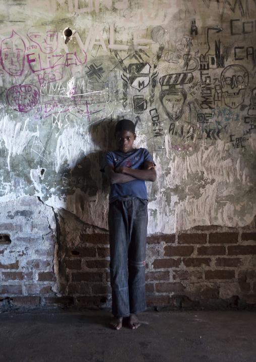 Boy Inside The Grande Hotel Slum, Beira, Sofala Province, Mozambique