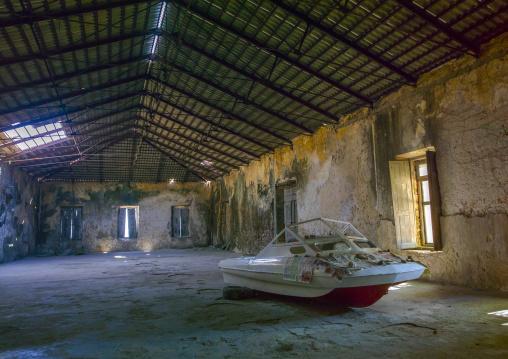 Boat Inside An Old Portuguese Colonial Building, Ilha de Mocambique, Nampula Province, Mozambique