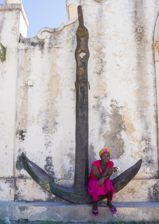 Giant Anchor At The Old Naval Academy In Stone Town, Ilha de Mocambique, Nampula Province, Mozambique